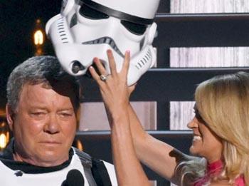 William Shatner dressed as storm trooper.